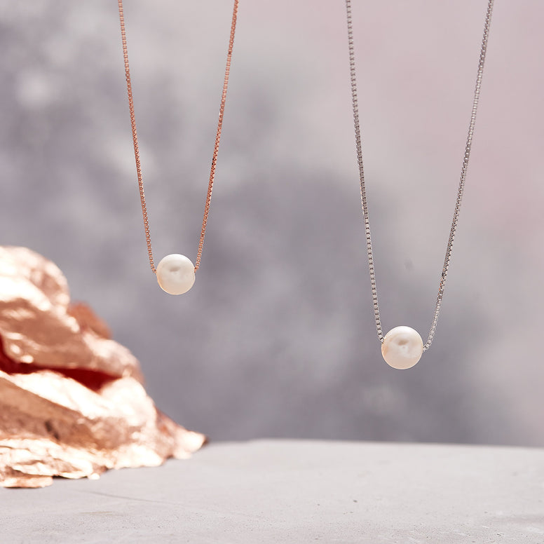 sterling silver rose gold floating pearl pendant necklace
