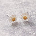 sterling silver daisy flower earrings ear studs