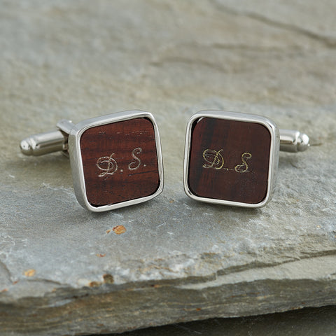 personalised Mahogany cufflinks