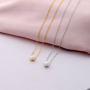 Delicate Pearl Sterling Silver Necklace - sterling silver NuNu jewellery