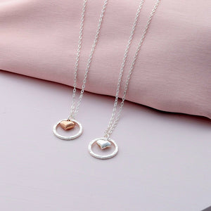 Sterling Silver Circle and Heart Pendant Necklace - sterling silver NuNu jewellery
