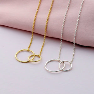 Sterling Silver Big and Small Circle Necklace - sterling silver NuNu jewellery