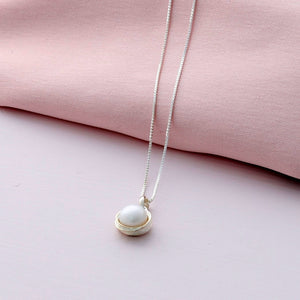 Silver Wrapped Pearl Necklace - sterling silver NuNu jewellery