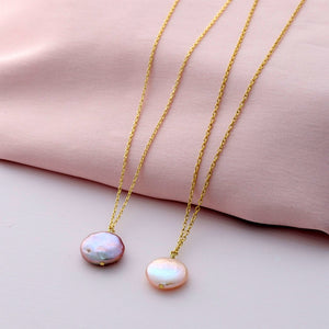 Pearl Disc Necklace - sterling silver NuNu jewellery