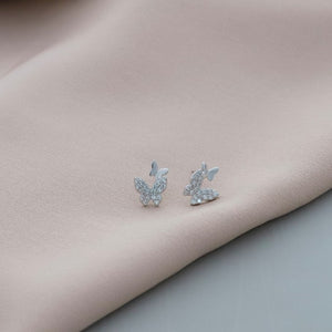 Silver Crystal Twin Butterfly Earrings - NuNu Jewellery