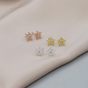 Silver Glistening Snowflake Ear Studs Or Necklace - NuNu Jewellery