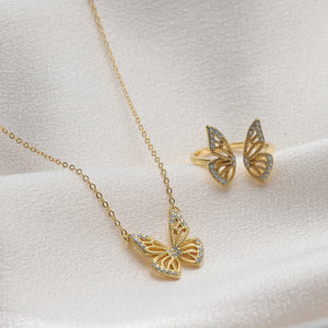 Crystal Butterfly Necklace or Ring - NuNu Jewellery