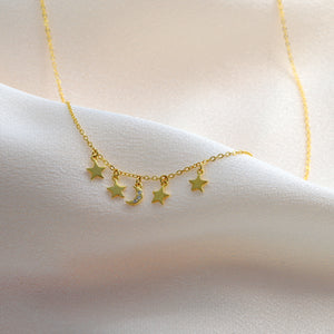 Gold Moon and Stars Necklace - sterling silver NuNu jewellery