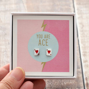 Silver 'You Are Ace' Playing Cards Earring - NuNu Jewellery