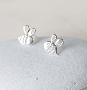 Sterling Silver Bee Earrings Studs - NuNu Jewellery