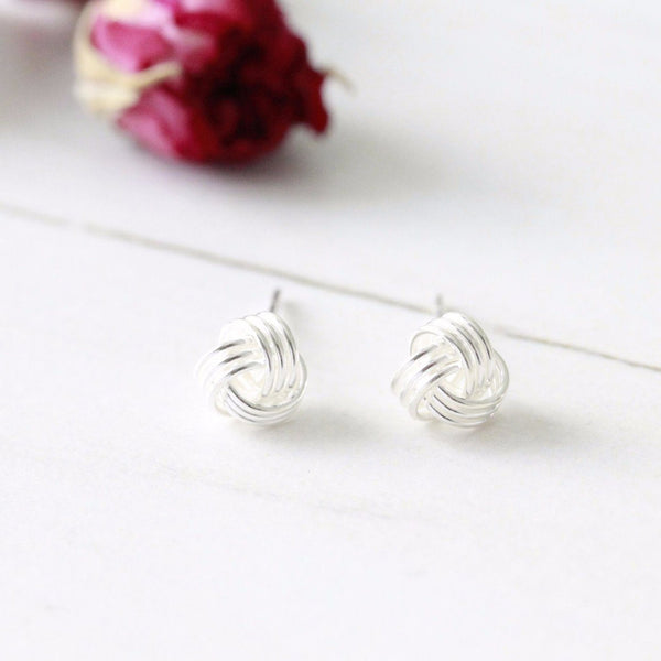 sterling silver Friendship Knot ear studs