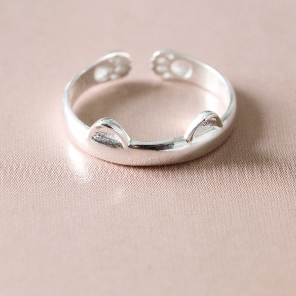 Silver Little Cat Ring - nunujewellery