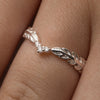 Sterling Silver Feather Ring With Crystal - NuNu Jewellery