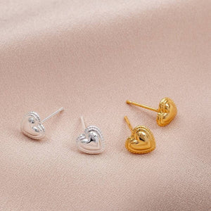 Sterling Silver Love Heart Earring Studs - NuNu Jewellery