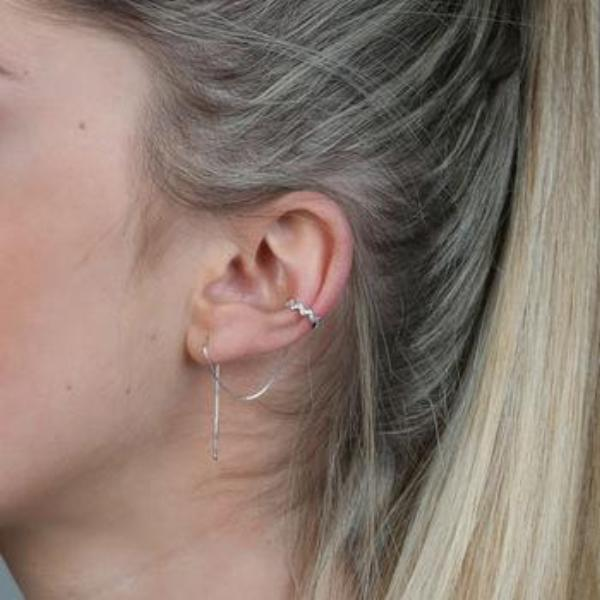 Sterling silver ear cuff and thread