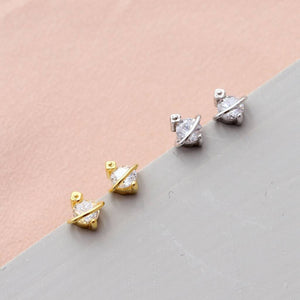 Crystal Planet Stud Earrings - sterling silver NuNu jewellery