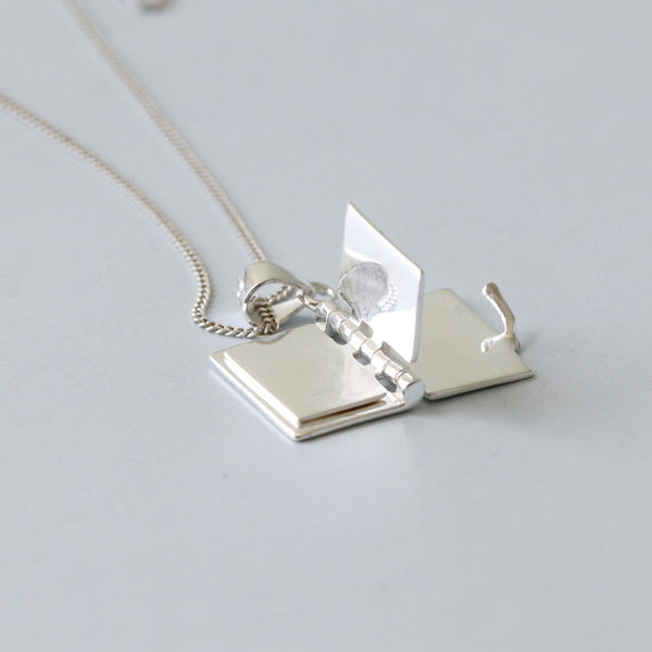 sterling silver book pendant necklace