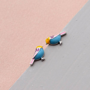 Mini Enamel Bird Earring Studs - sterling silver NuNu jewellery
