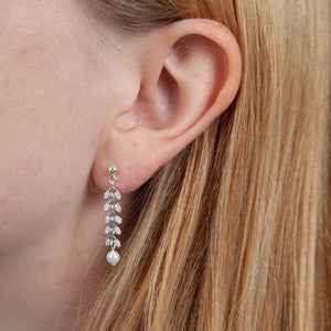 Sterling Silver Leaf And Pearl Earrings - NuNu Jewellery