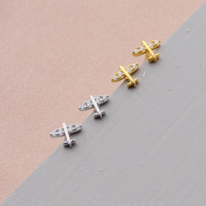 Sterling Silver Tiny Little Aeroplane Earrings - sterling silver NuNu jewellery