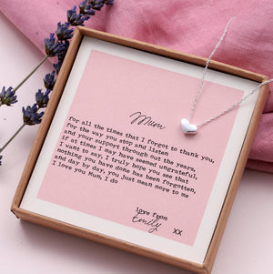 'Thank You Mum' Heart Necklace With Your Own Message - NuNu Jewellery
