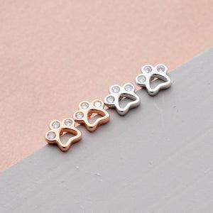 Tiny Little Paws Earring Studs - sterling silver NuNu jewellery
