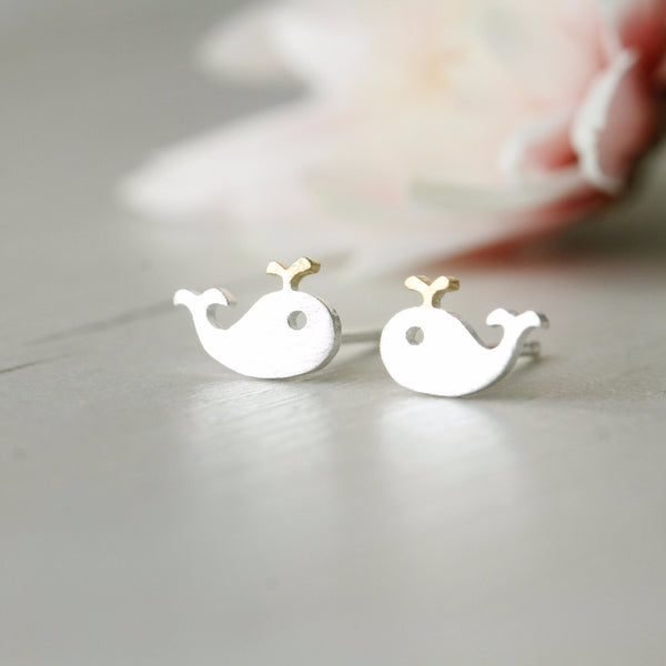 Sterling Silver Little Whale Ear Studs - nunujewellery