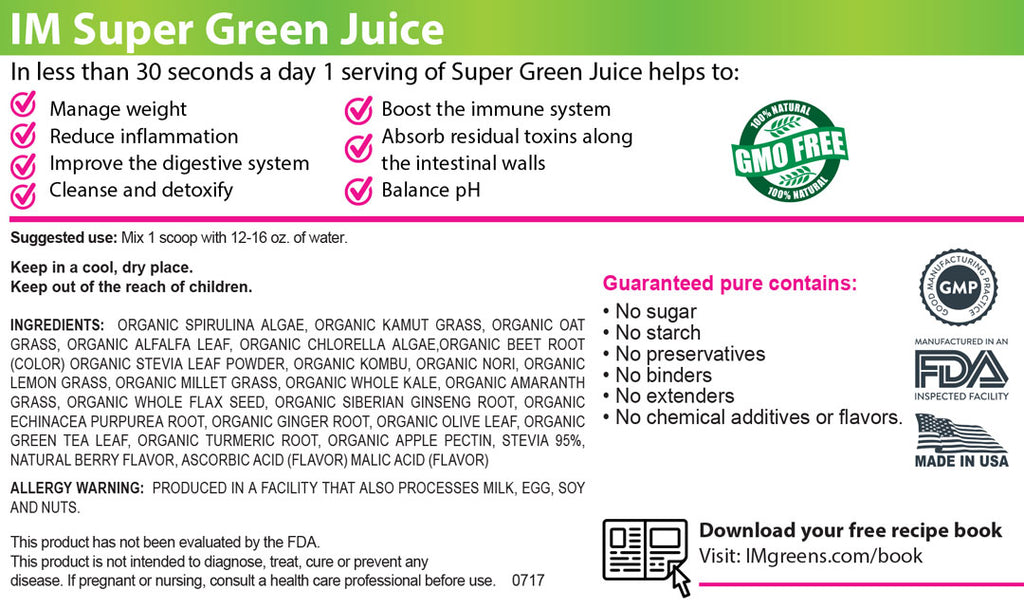 IM Premium Super Green Juice 4 Frascos
