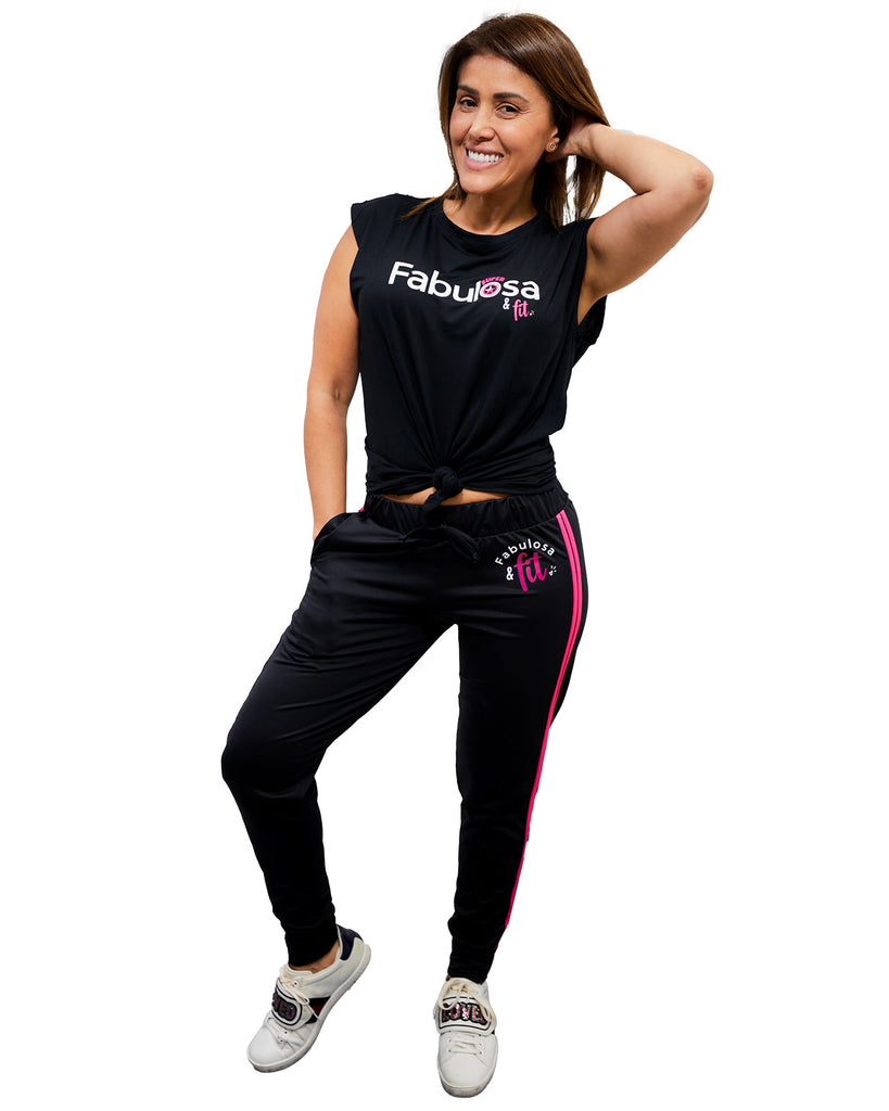 Jogger Fabulosa y Fit - Black and Pink