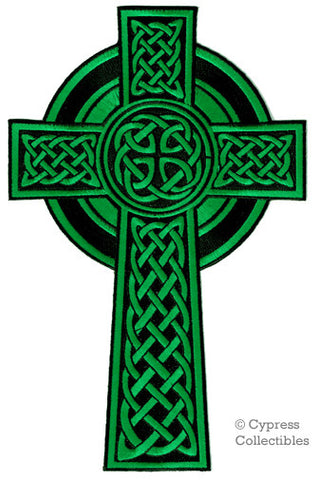 LARGE SIZE CELTIC CROSS PATCH GREEN