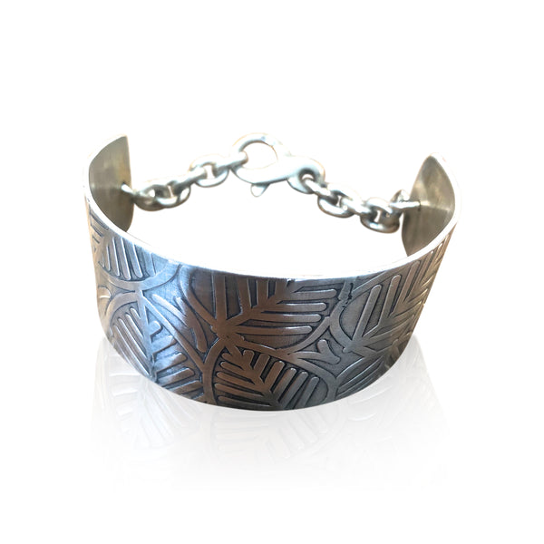 CB6 - Sterling Silver Textured Leaf Pattern Wide Cuff Bracelet