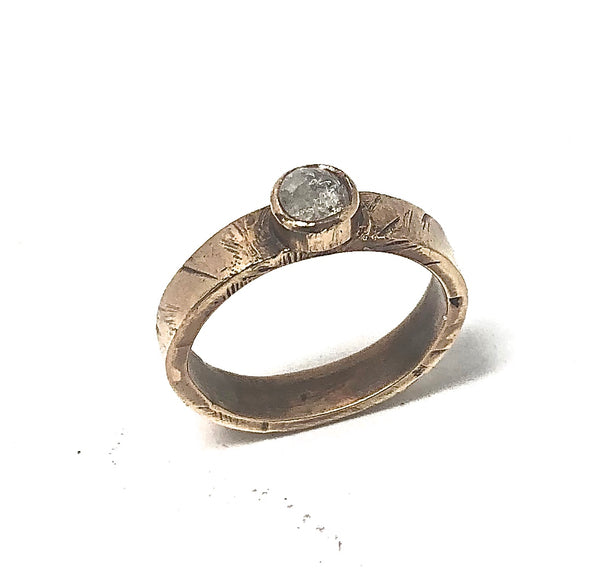 R12 - Custom 14KT Gold Diamond Ring w 14KT Gold Bezel; Price May Vary