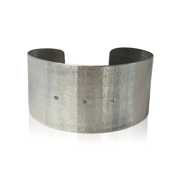 CB9 - Sterling Silver Textured Wide Cuff Bracelet w Triple Diamond Accents