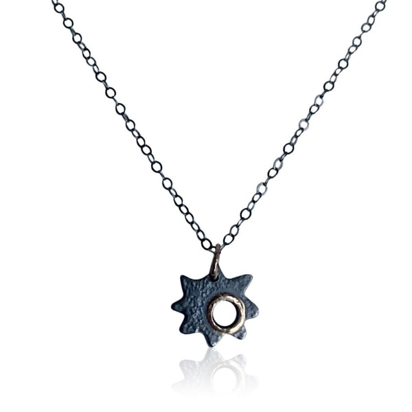 "NAMM6-""Falling Star Necklace"" Textured and Oxidized Sterling Silver and 14KT Gold Necklace"