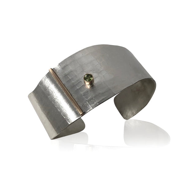 CB13 - Sterling Silver Textured Wide Cuff Bracelet w 14KT Gold and Peridot