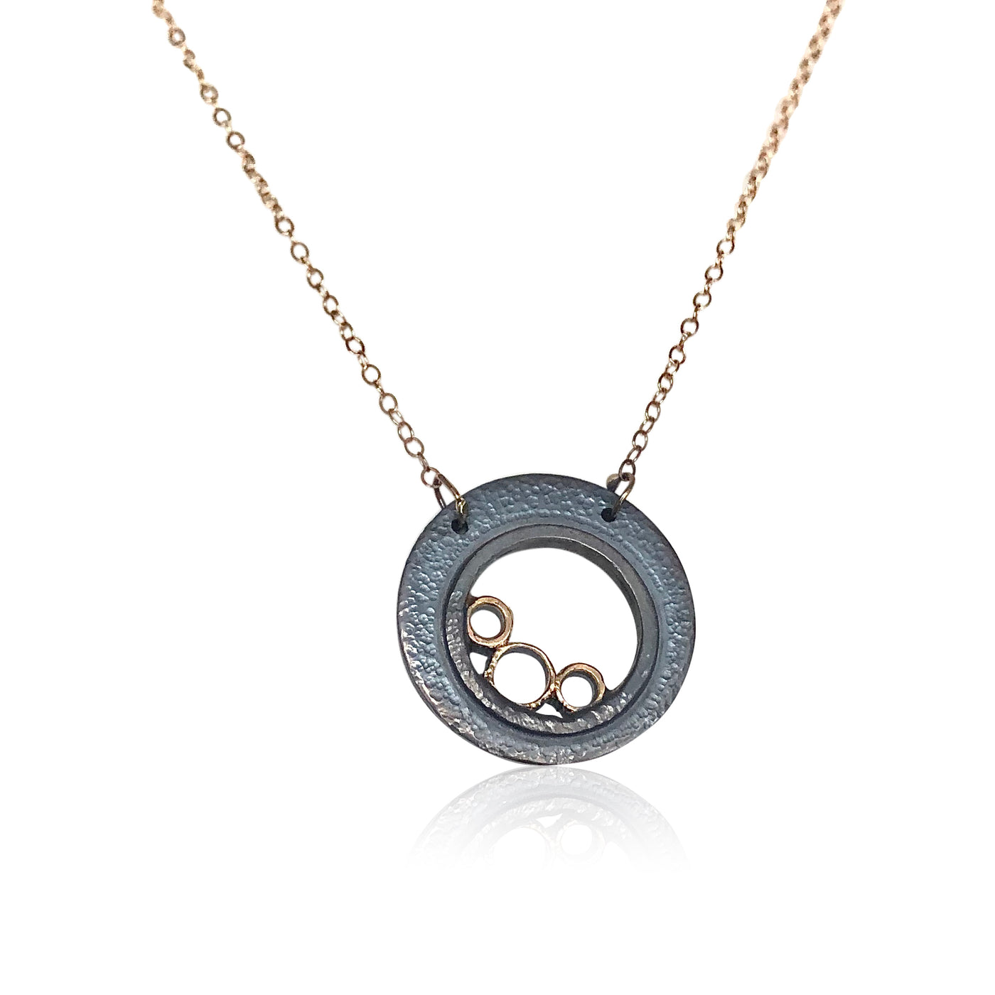 "NAMM1-""Lucky Bubble Necklace"" Textured and Oxidized Sterling Silver and 14KT Gold Necklace on Gold Chain"
