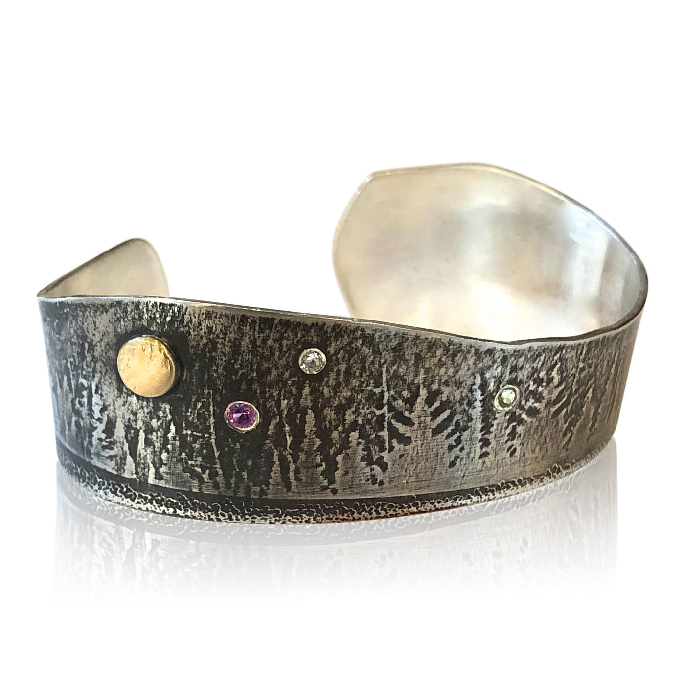 "Copy of CB12 - ""Moon Over Mountains""  Cuff Bracelet in SS w 14KT Gold Accent"