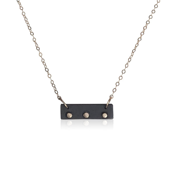 "NBS1 - ""Ducks in a Row"" Sterling Silver Oxidized Bar Necklace w 14KT Gold"