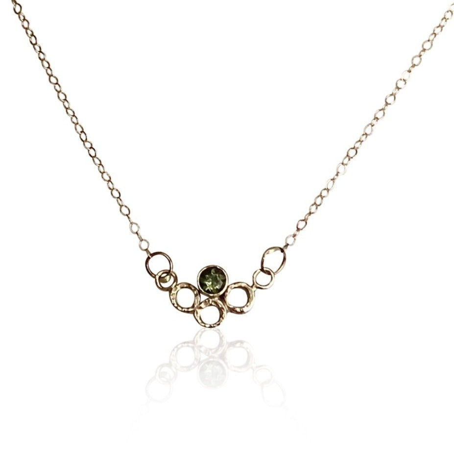 "NAMM2-""Floating Bubbles Necklace"" 14KT Gold and Moldavite Gold Necklace"