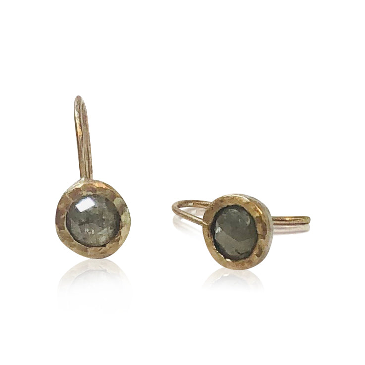 "E11 - ""Circles Around the Moon Earrings"" Stunning Gold Bezeled Raw Diamond Earrings"
