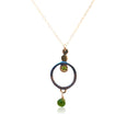 "E11 - ""Hypnotized Circle Earrings"" Sterling Silver w 14KT Gold Accents and Green Tourmaline"