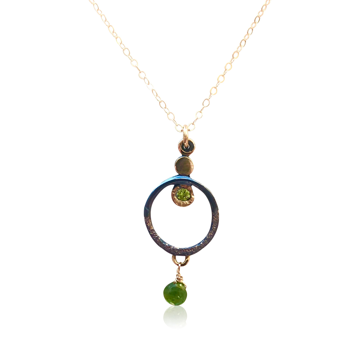 "NAMM2-""Hypnotizing"" 14KT Gold and Textured and Oxidized Sterling Silver w Gemstones"