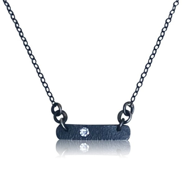 NBS5 - Oxidized Sterling Silver Bar Necklace w Diamond.