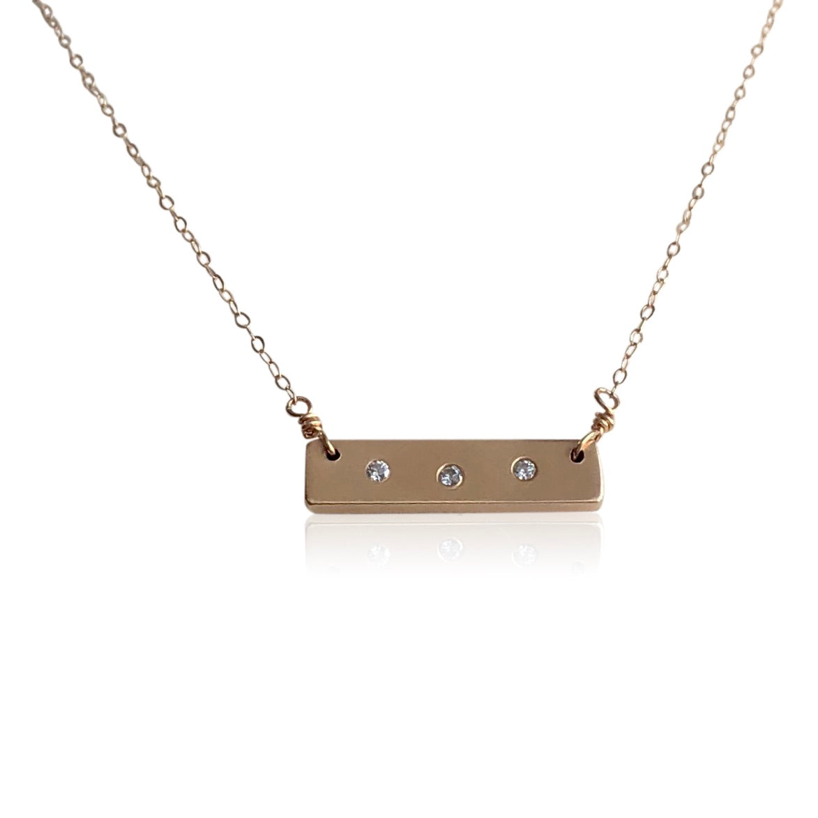 "NG1 14kt Gold Bar Necklace w 3 Diamonds; 3/4"" x 1/4"" Bar; 16"" Chain"