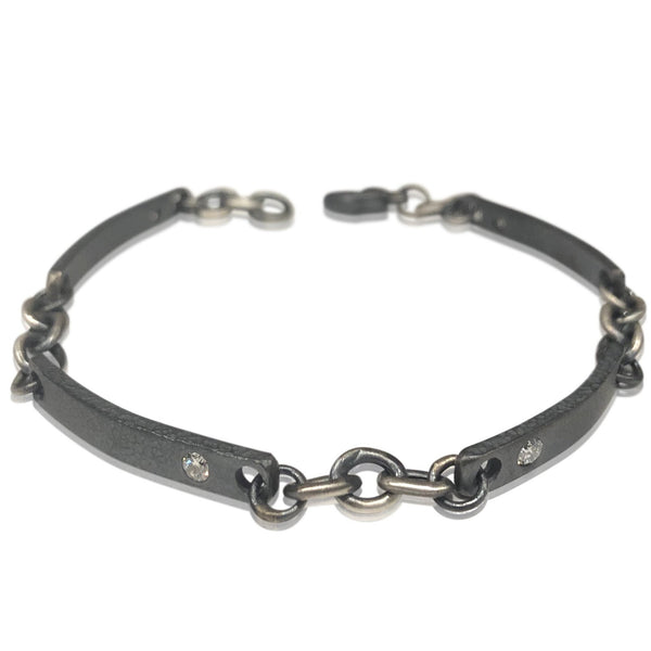 BL1 - Sterling Silver Link Bracelet w Diamonds