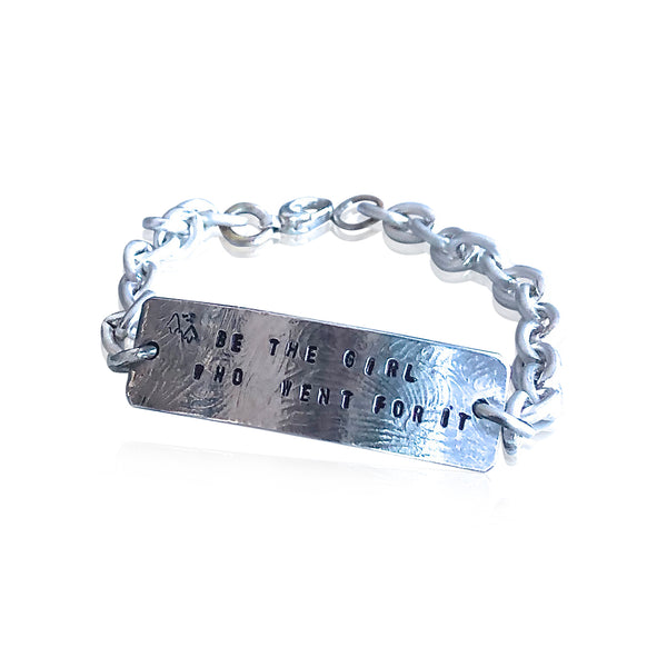 "IDB1 - Sterling Silver ID Bracelet Quote: ""Be the Girl Who Went for It"", Custom ID Bracelet"