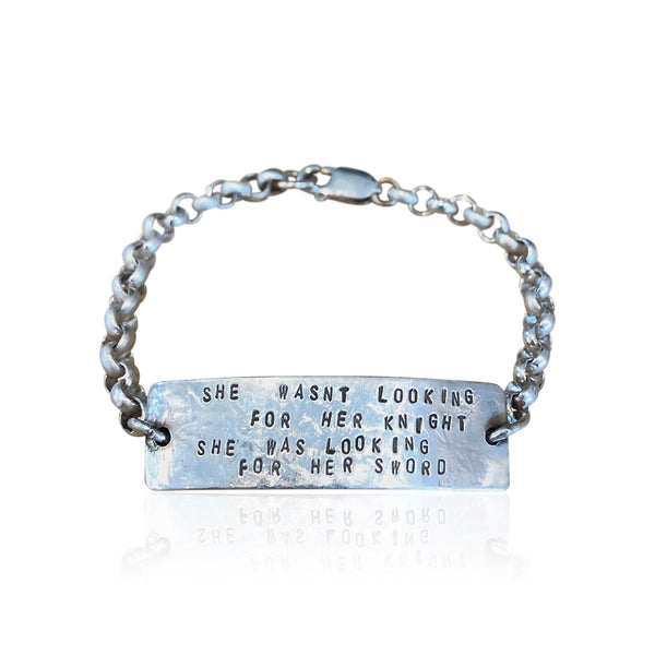 "IDB2 - Sterling Silver ID Bracelet Quote: ""She Wasn't Looking for Her Knight..."", Custom ID Bracelet"