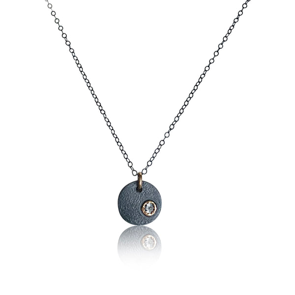 "NAMM5-""Disc-Ohh Necklace"" Textured and Oxidized Sterling Silver and 14KT Gold w Peridot Necklace"