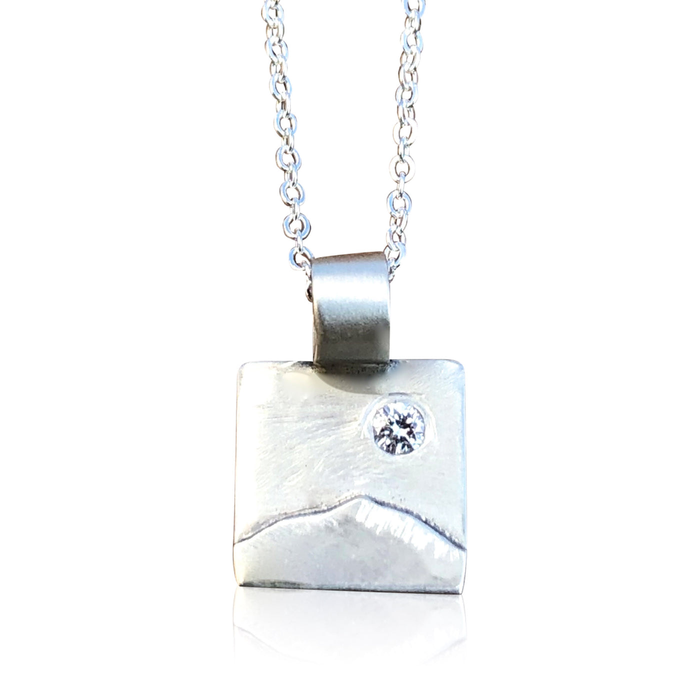 "Tiny Sterling Silver Square w Mountain Overlay and Diamond. 3/8"" Square; 16"" Chain"