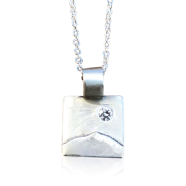 "NS4 - Tiny Sterling Silver Square w Mountain Overlay and Diamond. 3/8"" Square; 16"" Chain"